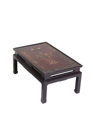 Early 20th Century Chinese Lacquered Panel Tables - a Pair
