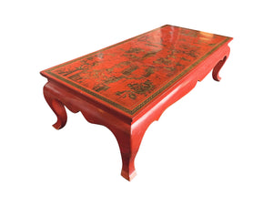 Chinese Red Lacquer & Gilt Low Coffee Table