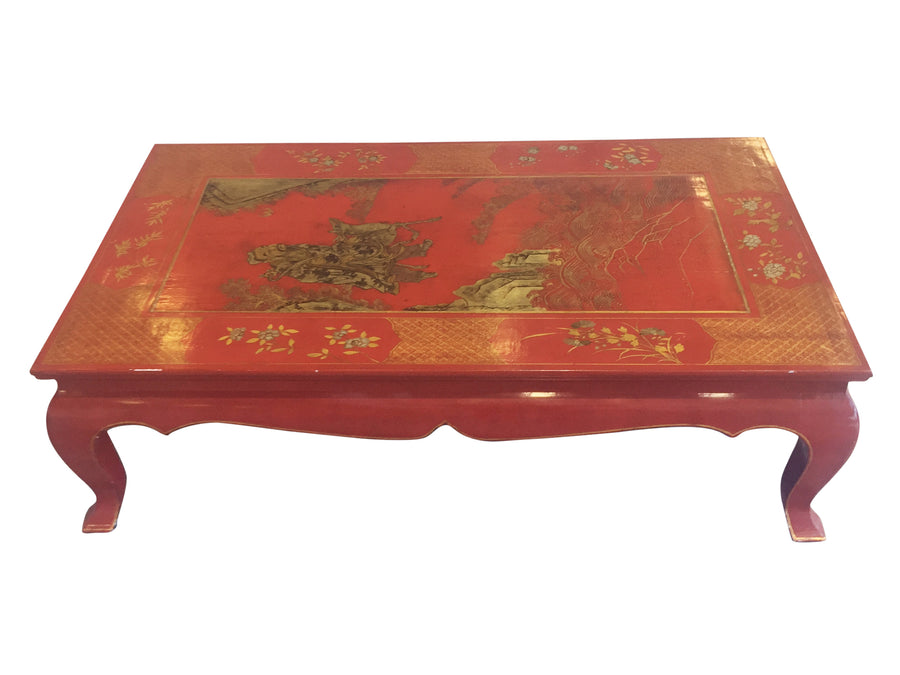 Chinese Lacquered & Handpainted Gilt Coffee Table