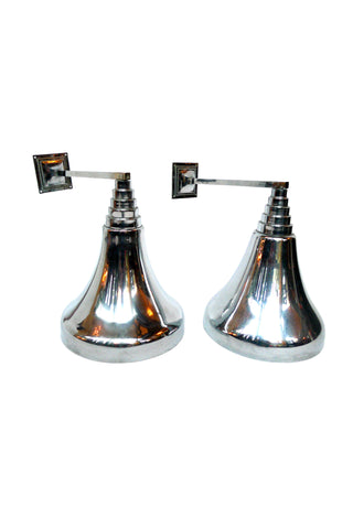 Art Deco Style Chrome Sconces - a Pair