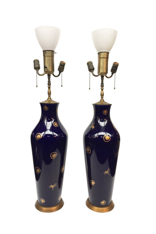 20th Century Cobalt Blue & Gold Porcelain Table Lamps Attributed to Sèvres - a Pair