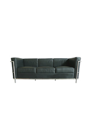 Black Leather Sofa in the Style of Le Corbusier