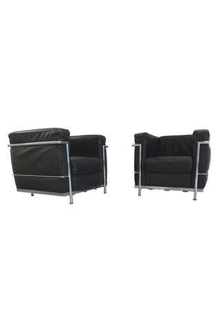 Black Leather Club Chairs in the Manner of Le Corbusier