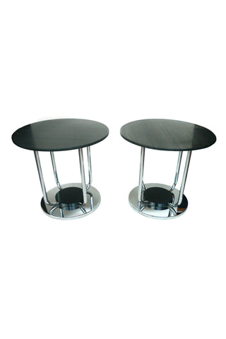 Custom-Made Black Marble Side Tables