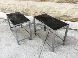 Custom-Made Marble & Steel End Tables - a Pair