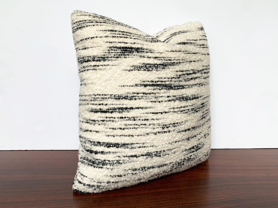 Custom Pillow With Schumacher Stripe Bouclé Fabric