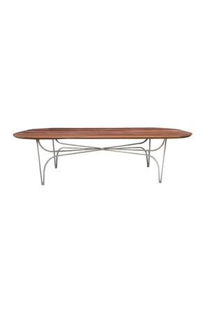 Custom Walnut & Metal Racetrack Coffee Table