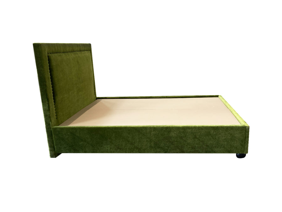 Custom Tuxedo Style Queen Bedframe in Green Mohair