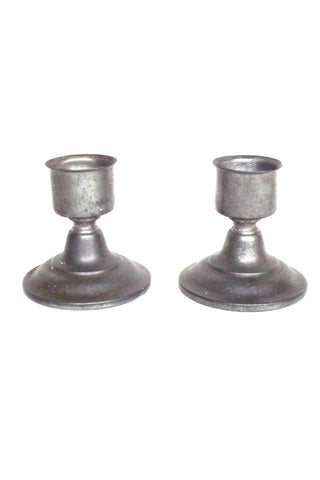 Pair of Pewter Candle Holders
