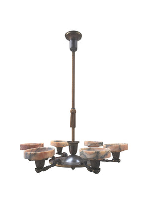 1930s Danish Art Deco Bronze & Marble Chandelier