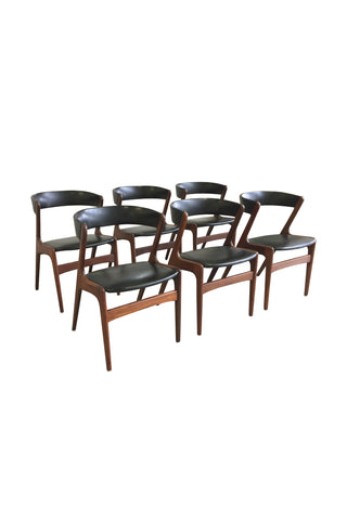 Set of Six Mid-Century Danish Teak and Black Skai Dining Chairs by Omann Jun