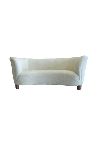 1940s Danish Banana Sofa by Slagelse Mobelvaerk, Reupholstered in Lambs Wool
