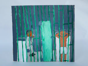 Earl Swanigan Painting - Prison Scene With Two Figures