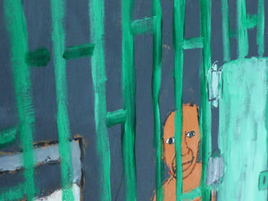 Earl Swanigan Prison Scene Painting with Two Figures
