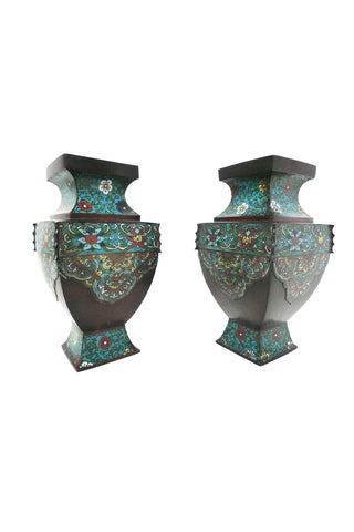 Pair of Antique Asian Bronze Urns with Cloisonné