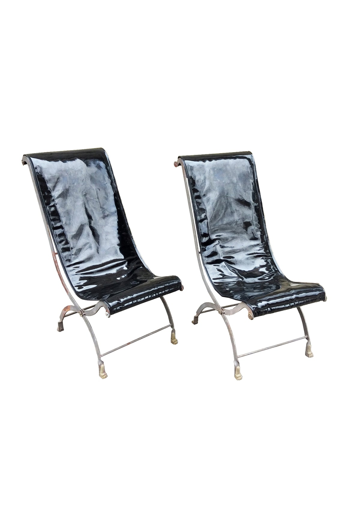 Pair of Early 20th Century Campaign Lounge Chairs in the Manner of Maison Jansen