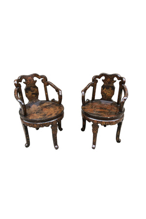 Pair of Early 20th Century Hand-Painted European Japonisme Chairs