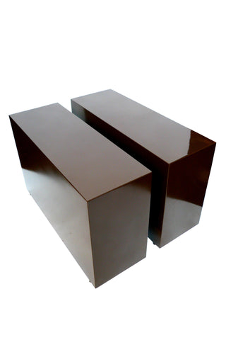 Lacquered Plinth Side Tables in the Style of Eileen Gray - a Pair