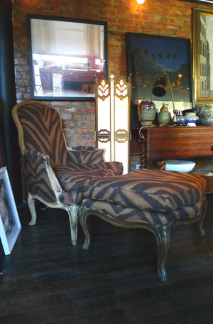 Reupholstered French Bergere Chair & Ottoman