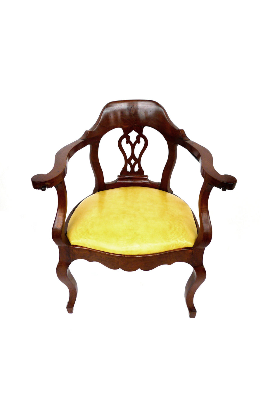 French Empire Mahogany Armchair in Yellow Snakeprint Leather from Edelman