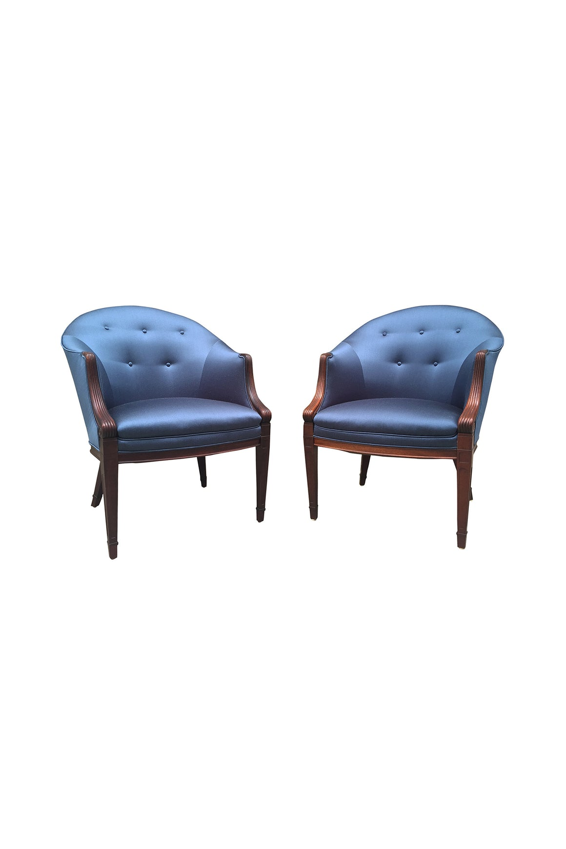 Pair of 1940s Sapphire Silk Easy Chairs by Frits Henningsen