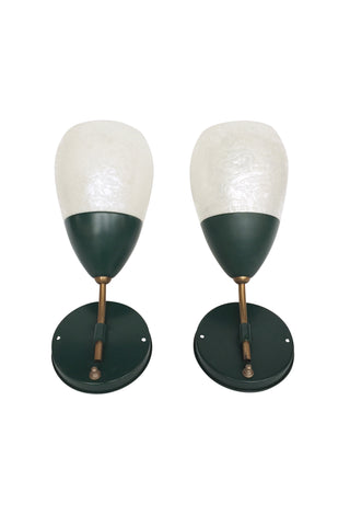 Mid-20th Century Enameled Metal & Milkglass Sconces by Gill Glass & Fixture Co. - a Pair