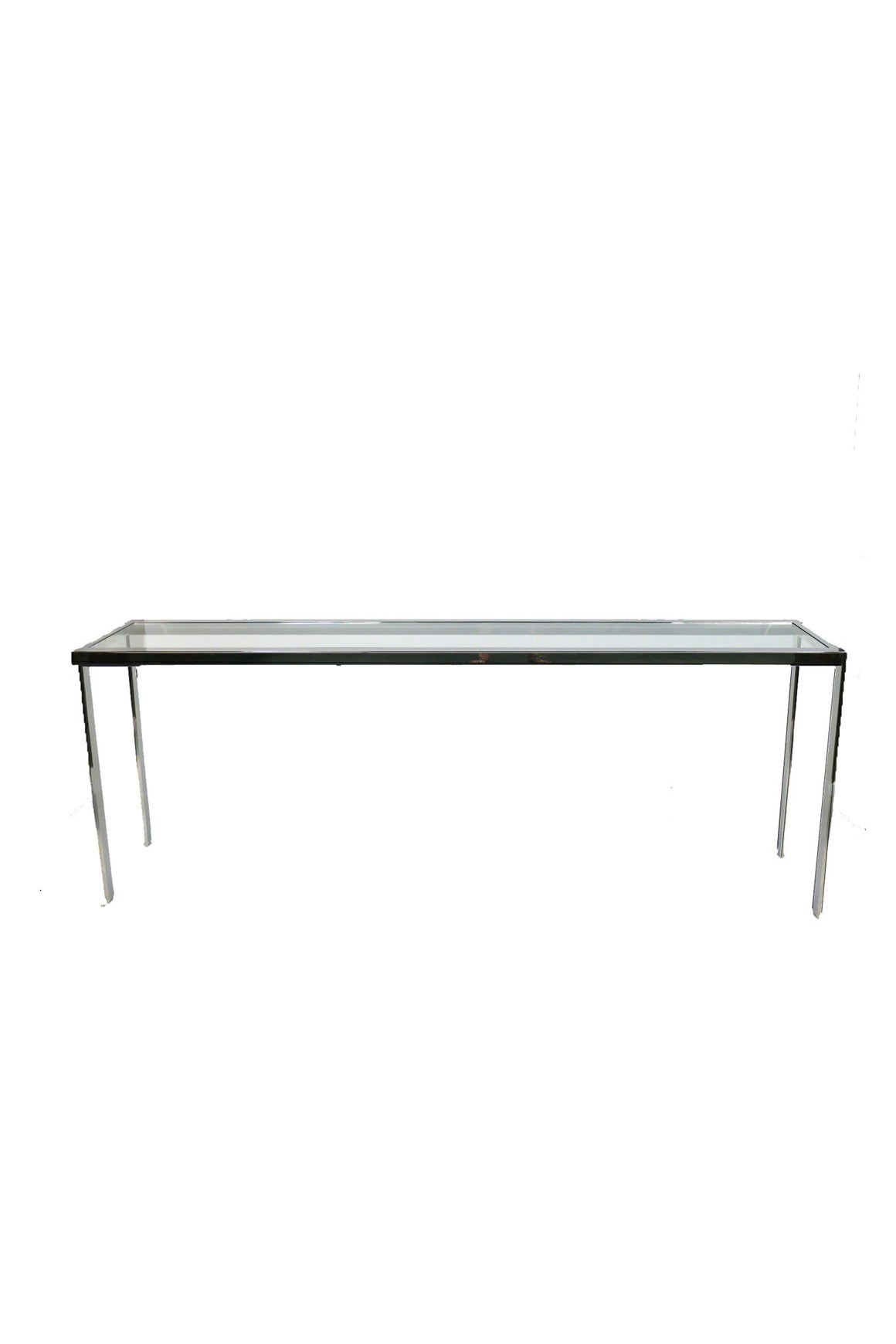 Brueton Glass & Chrome Console Table
