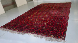 "Mid-20th Century Handwoven Bokhara Rug - 8' 9"" X 13' 2"""
