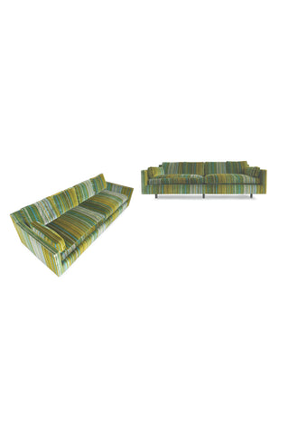 1960s Pair of Harvey Probber Striped Velvet Sofas