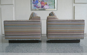 Harvey Probber-Style Club Chairs in Paul Smith Fabric