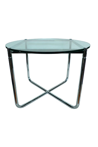 Chrome & Glass Round Endtable in the Style of Mies van der Rohe