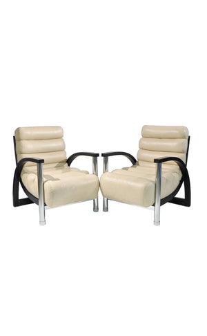 Jay Spectre Crescent Lounge Chairs - a Pair