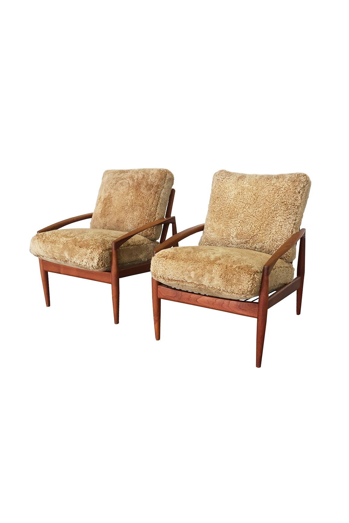 Kai Kristiansen Teak Easy Chairs With Custom Shearling Upholstery - a Pair