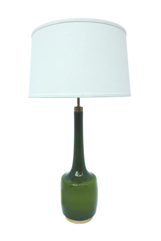 1960s Green Glass Table Lamp by Kastrup-Holmegaard
