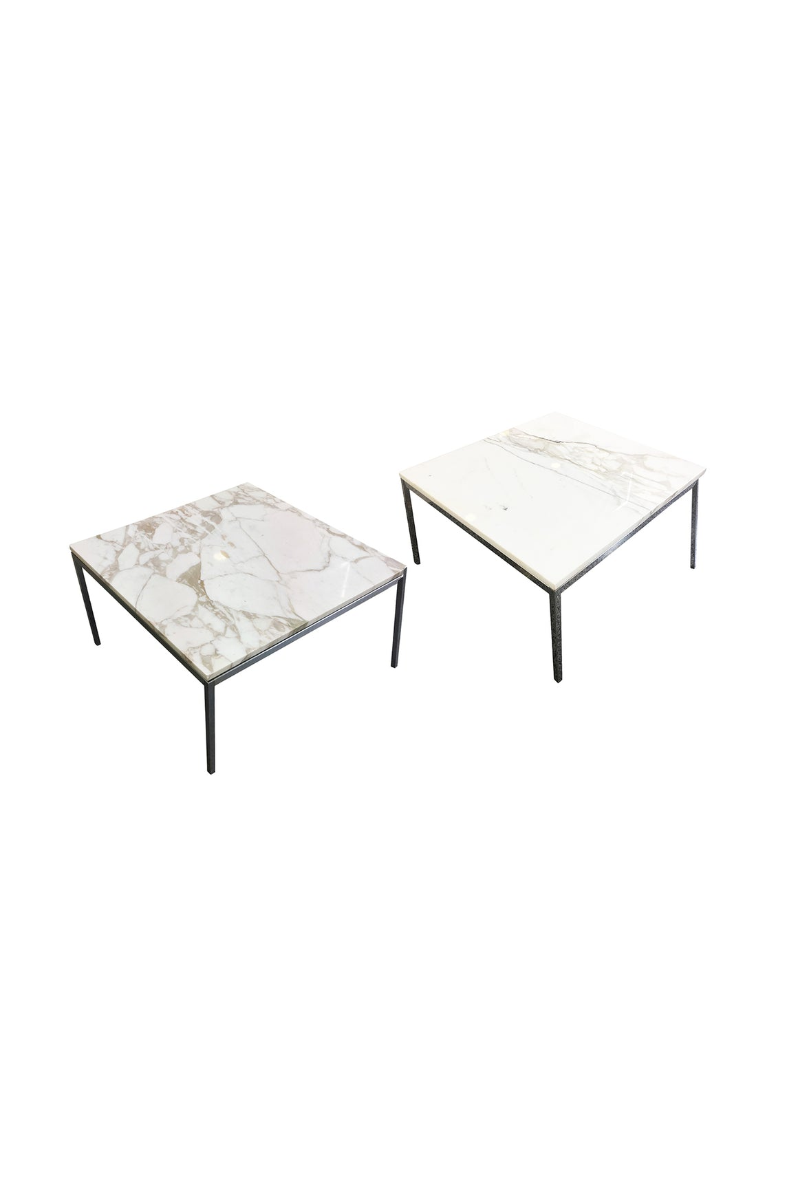 Knoll-Attributed White Marble-Top Side Table - 2 Available