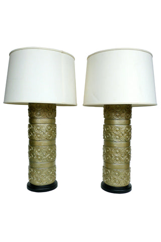Pair of Gold Wallpaper Roller Lamps