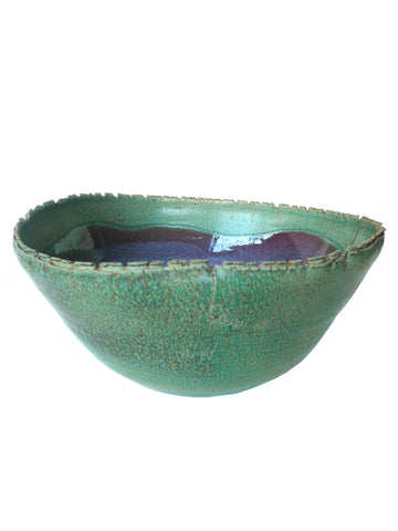 Green and Purple Ceramic Bowl by Thom Lussier