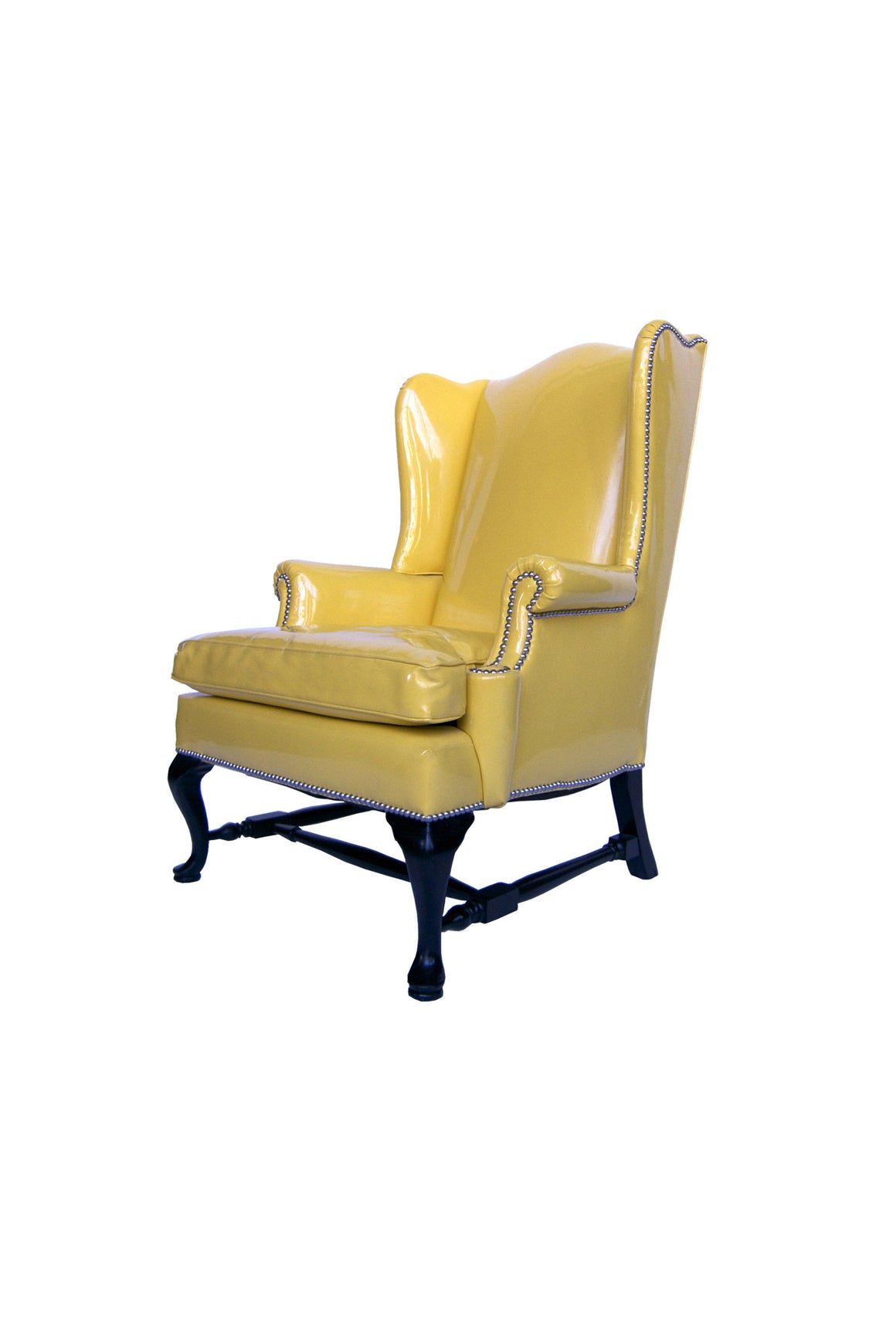 Wingback Armchair Reupholstered with Yellow Patent Leather