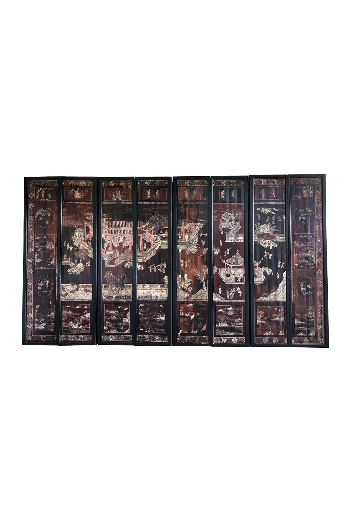 Late 19th Century Eight-Panel Chinese Folding Screen
