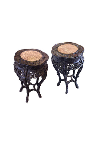 Late 19th Century Chinese Marble-Topped Jardinière Side Tables - a Pair