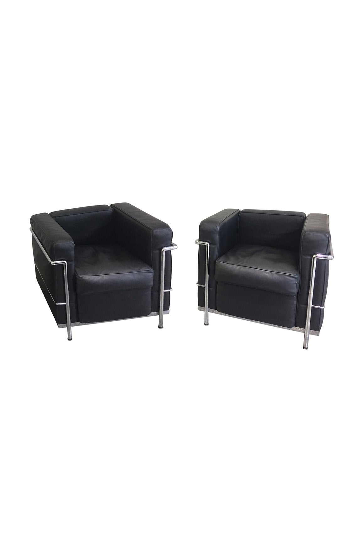 Pair of 20th Century Corbusier Style Black Leather Club Chairs