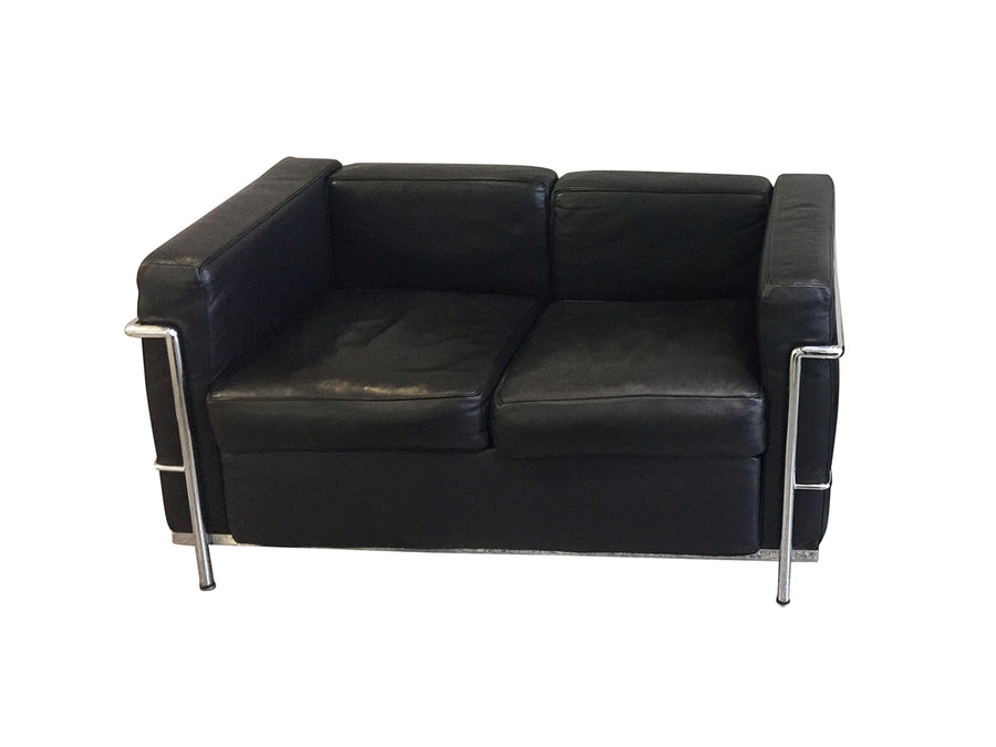 20th Century Le Corbusier Style Black Leather Settee - 2 Available