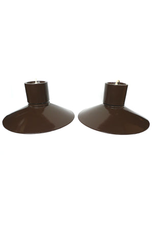 Midcentury Lightolier Chocolate Brown Pendants - a Pair