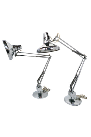 Pair of 1970s Luxo Articulated Chrome Desk Lamps