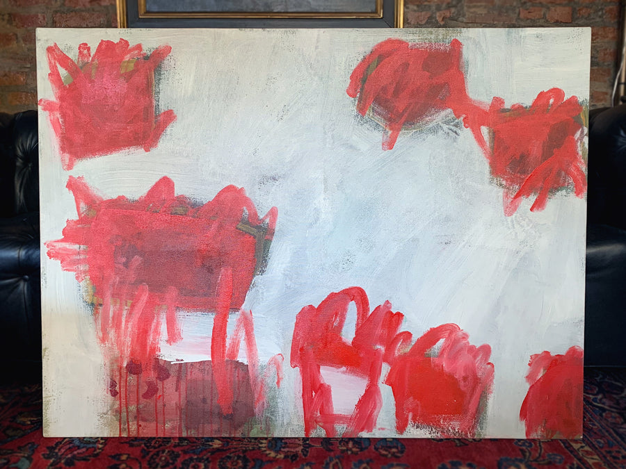 M. P. Landis Red & White Abstract Painting