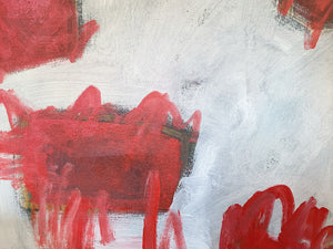 M. P. Landis Red & White Abstract Painting - ON HOLD