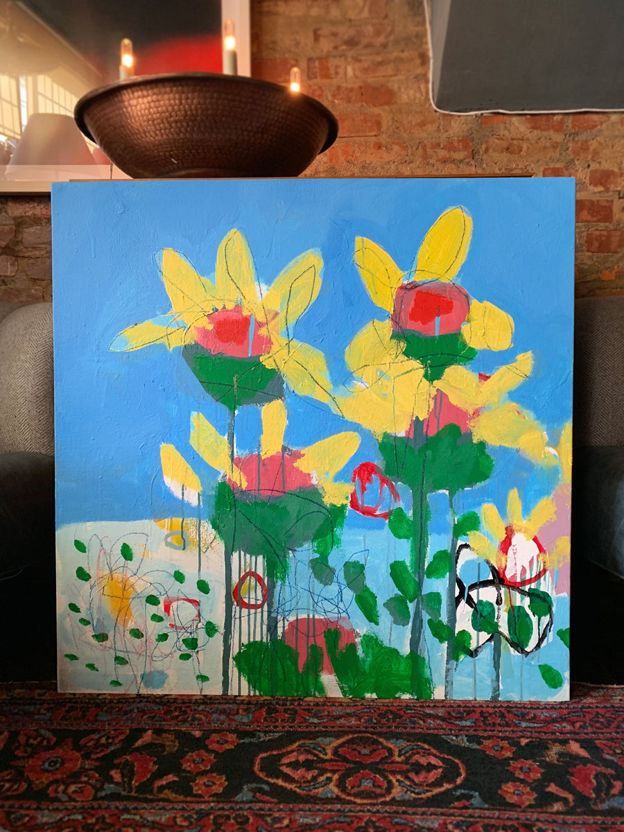 M. P. Landis Landscape Painting (Yellow Flowers & Blue Sky)