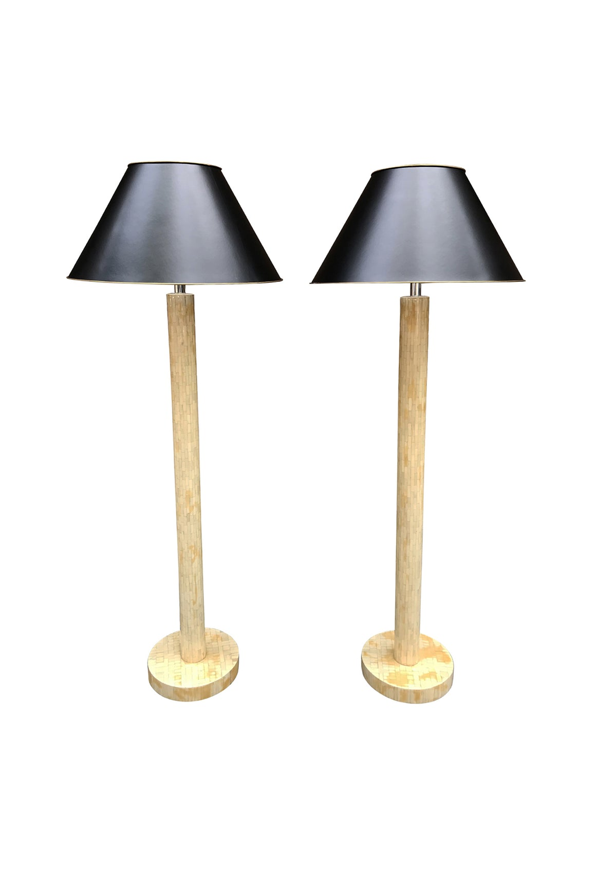 Pair of Mid-20th Century Tessellated Bone Floor Lamps