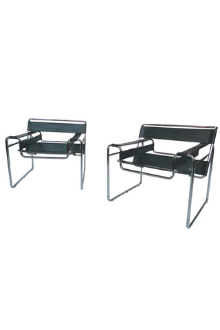 Black Leather & Steel Wassily Chairs by Marcel Breuer - A Pair
