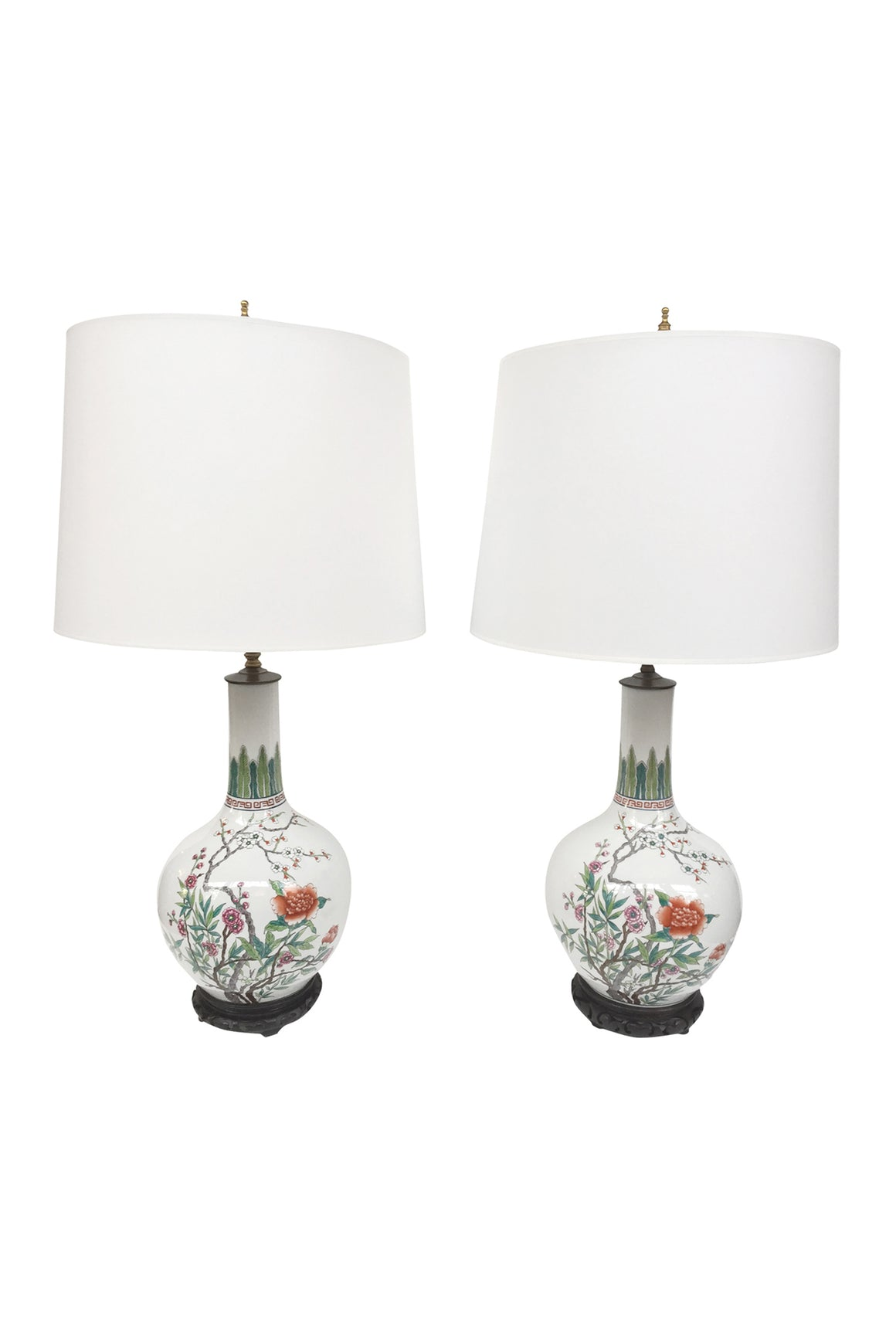 Pair of Mid-20th Century Chinese Porcelain Table Lamps
